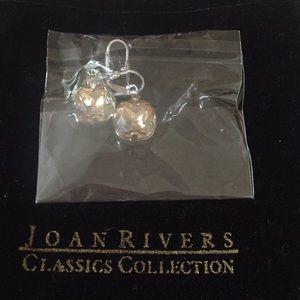 Joan Rivers crystal style, silver tone earrings